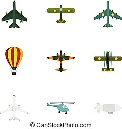 Army planes icons set, flat style