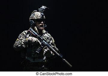 Army Ranger in field Uniforms - Bearded soldier in Combat...