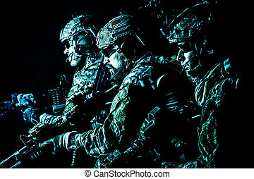 Army Ranger in field Uniforms - Group of security forces in...