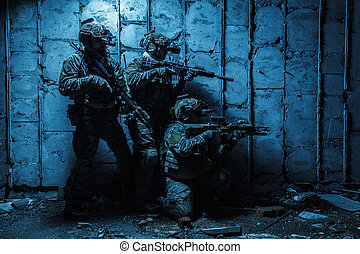 Army Ranger in field Uniforms - Squad of Army Rangers with...