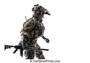 Army Ranger in field Uniforms with weapon, plate carrier and...