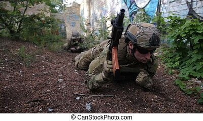 Army rangers crawling toward enemy position - Special forces...