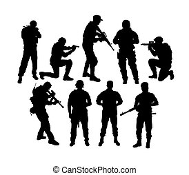 Army Ready to War Silhouettes