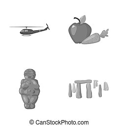 army, religion and other monochrome icon in cartoon style.food, history icons in set collection.
