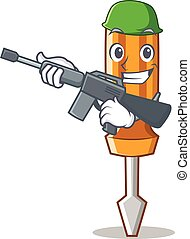 Army screwdriver character cartoon style