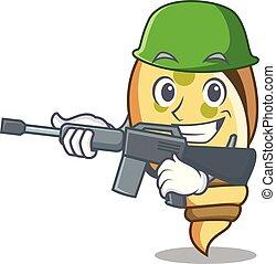 Army sea shell character cartoon