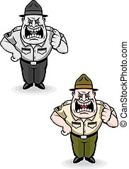Army sergeant - Angry military sergeant in cartoon style. ...