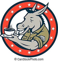 Army Sergeant Donkey Coffee Circle Cartoon
