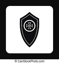 Army shield with cross icon, simple style