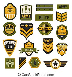 Army signs and badges or stripes elite military isolated...