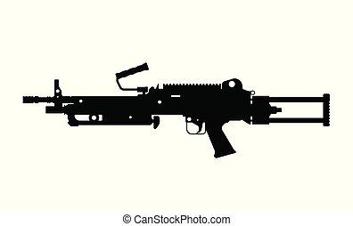army., silueta, image., arma, aislado, arma de fuego,...