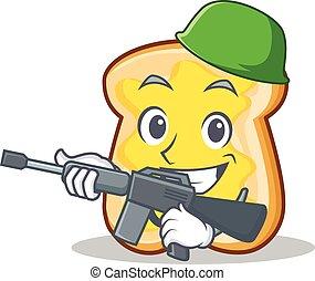 Army slice bread cartoon character vector art illustration