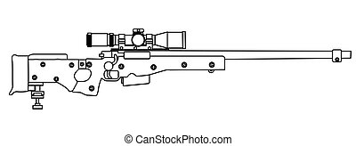 Army Sniper Rifle - A modern sniper rifle isolated on white.