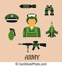 Army, soldier and military flat icons