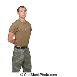 army soldier guy - one fit attractive soldier in a brown t-...