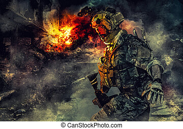 Army soldier in action