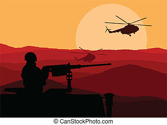 Army soldier in desert landscape background