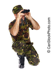 army soldier looking through binoculars isolated on white background
