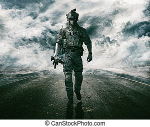 Army soldier on the road