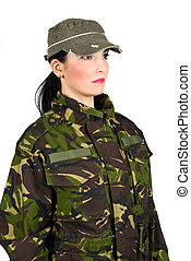 Army soldier - Profile of army soldier looking away isolated...