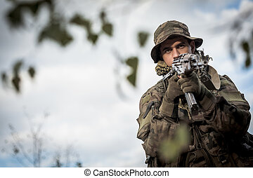 Army soldier with a weapon