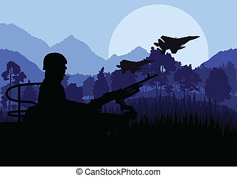 Army soldier with helicopters, guns and transportation in wild desert mountain nature landscape background illustration vector