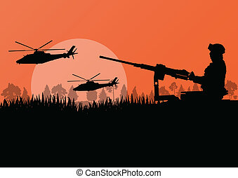 Army soldier with helicopters, guns and transportation in wild mountain forest nature landscape background illustration vector