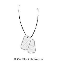 Army soldiers badge. Vector illustration of a military accessory on a chain. Metal medallion with blood group and  name of soldier