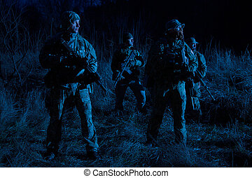 Army soldiers crew patrolling territory at night