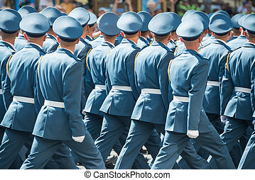 Army soldiers marching on military parade - Army soldiers in...