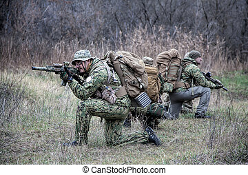 army soldiers military tactical teamwork in forest