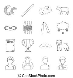 army, sport, technology and other web icon in outline style. weather, animal husbandry, television icons in set collection.