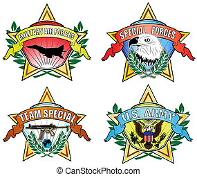Army symbol  - vector image of color military symbols