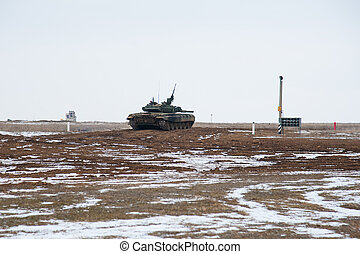 Army tank. Military training