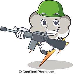 Army thunder cloud character cartoon vector illustration