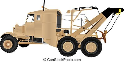 Army Tow Truck - A Vintage Six Wheeled Army Tow Truck with...
