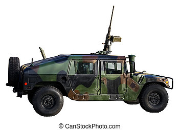 Army truck isolated on white. Clipping path included to remove or replace background.