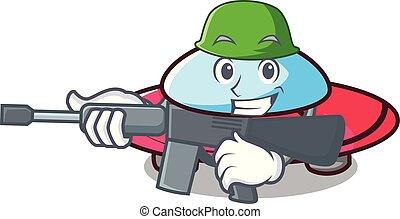 Army ufo character cartoon style