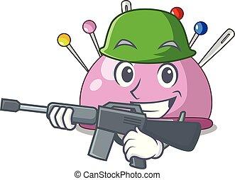 Army wicker basket on a pincushion cartoon vector...