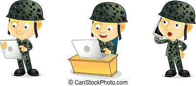Army with laptop vector art