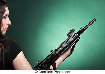 Army Woman With Gun - Beautiful woman with rifle plastic