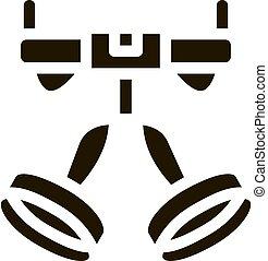 arnés, enganchar, herramienta, dispositivo, glyph, alpinism, icono