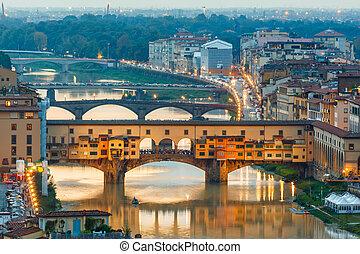 arno řeka, a, brid, ponte vecchio