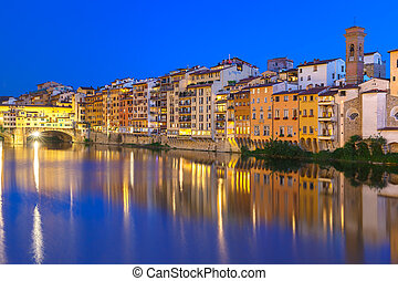 Arno and Ponte Vecchio at night, Florence, Italy - Old...