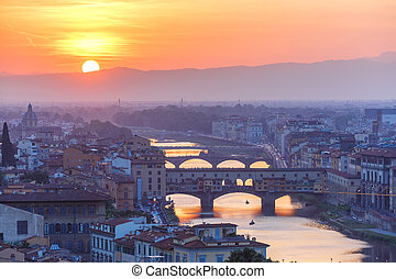 Arno and Ponte Vecchio at sunset, Florence, Italy - River...