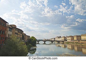 Beautiful view of Bridge of Santa Trinità, at Florence, Italy