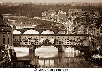 arno fluß, und, brücken, ponte vecchio