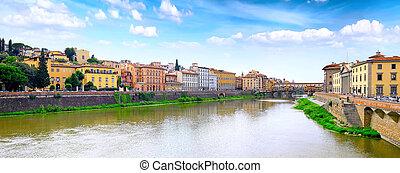 arno río, en, florencia, italy., panorama