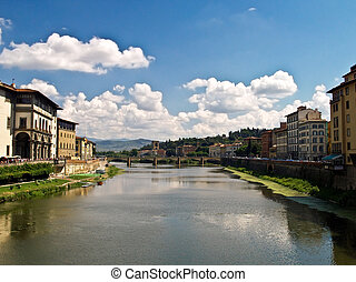 arno río, florencia, italia