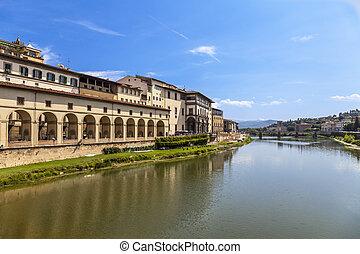 arno río, y, florentino, palacios, florencia, italy.